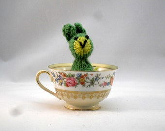 Hand Knit Bunny Plush Green Ready To Ship
