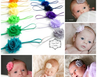 You Pick 10, MINI Shabby Chic Rose Headband Set, Infant Headband, Newborn Headband, Flower Headband, Baby Girl Headband, Infant Headbands