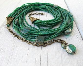 Seed Bead Necklace, Bohemian Jewelry, Czech Picasso Glass, Layered Collar, Matte Beads, Emerald Green, Multi Strand