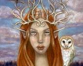 The Guardians Barn Owl wren fairy forest pagan goddess 8x10 fine art print