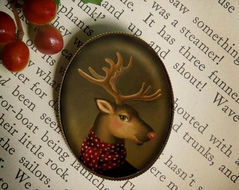 Deer Portrait Brooch - Deer Pin - Jewelry