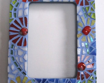 Mosaic Mirror Cool Blue with Colorful Flowers