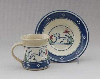 Multi-Color Stoneware Baby's Mug and Bowl Set Blue Puppy  Dog with Flowers