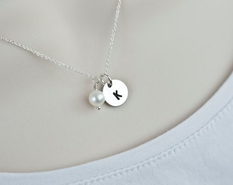 Initial Necklace, Monogram,Initial Silver Disc Necklace,Up to 5 Disc Charms Sterling Silver,Personalized Jewelry,Mom Sister Best Friend Gift