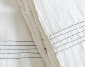Vintage European Kitchen Towel with Black Pinstripe Stitching - Homespun Hemp/Cotton