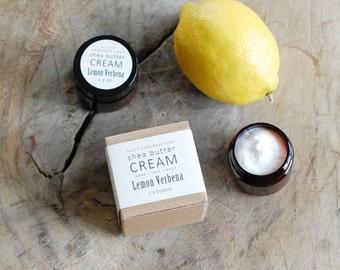 MINI - Lemon Verbena Shea Butter Cream - with pure essential oils + organic shea butter - paraben free - 1.2 ounces