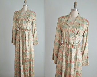 50's Brocade Robe // Vintage 1950's Elegant Scenic Brocade Full Length Dressing Gown Robe M