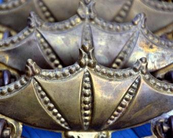 Vintage Brass Batwing / Crown Furniture Handle: Ornate Metal Pull / Knob - Drawer, Door, Vanity, Cupbaord, Chest, Dresser, Cabinet, Armoire