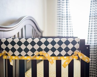 Items Similar To No Sew Tied Quilted Crib Rail Guard