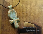 Ankh Symbolic Amulet - Symbol of Life - Handcrafted Protective Amulet or Altar Icon on Black Satin Cord With Brass Patina Finish