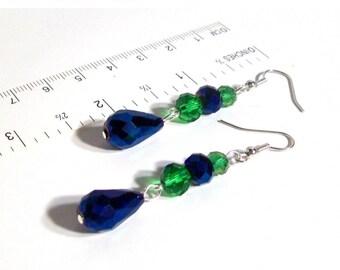 """Dangle Earrings, Cobalt Blue & Green Swarovski Large Tear Drop Crystal Dangle Earrings, 2.25"""" Dangle Earrings"""