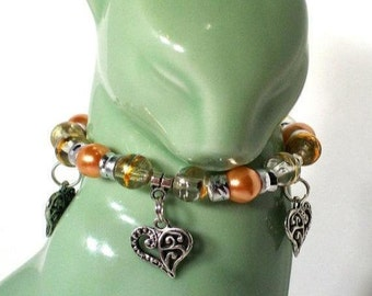 Heart Charm Bracelet, Orange Pearl, Select Charm, Sizes 4' to 8' in Length