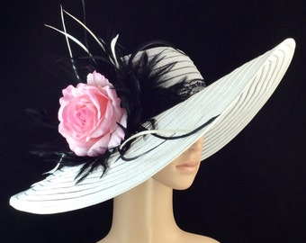 White Kentucky Derby Hat with Pink Rose and Black Lace hat band,Dress Hat, Wide Brim Hat ,Wedding Hat,Tea Party Hat ,Ascot hat