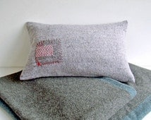 Hand Embroidered Blanket Pillow in Red and Gray, Grey Cushion Cover