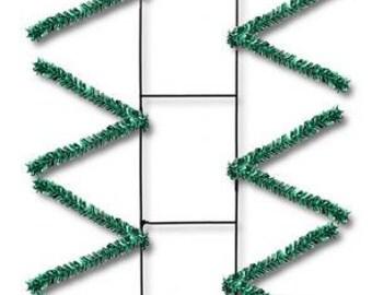"22"" Emerald Green Tinsel Rail Work Forms XX759906, Poly Deco Mesh Frame , Centerpiece, Mailbox, Poly Mesh Supplies"