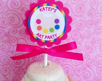 12 art party cupcake toppers, paint party toppers, pink rainbow birthday cupcake toppers--set of 12