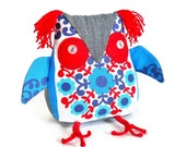 A cute Owl ? a  Retro Owl ? ON SALE  Owl in red , white and blue  60s Scandi Vintage Fabric