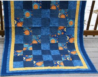 Coastal Shores Vintage Denim & Cotton Quilt Lap Quilt Baby Quilt Picnic Blanket