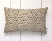 "Boho Style Purple Geometric Japanese Vintage Kimono Silk Lumbar Pillow Cushion 'Hexagon Tiles' (12"" x 19"")"