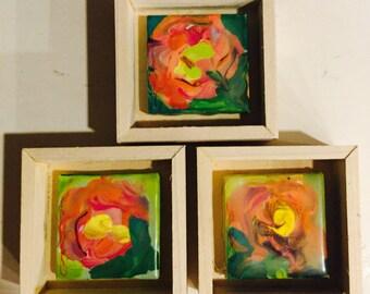 Rose encaustic painting