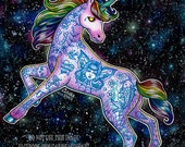 Tattooed Unicorn - 5x7, 8x10, or apprx 11x14 in Pop Art Outer Space Fantasy Tattoo Flash Unicorn Lowbrow Home Decor - Edgy Rock and Roll Art