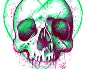 Neon Death 3 Signed Art Print  - 5x7, 8x10, or 11x14 in - Tattoo Flash Sugar Skull Electric Neon Green Pink Colorful Horror Lowbrow Art Edgy