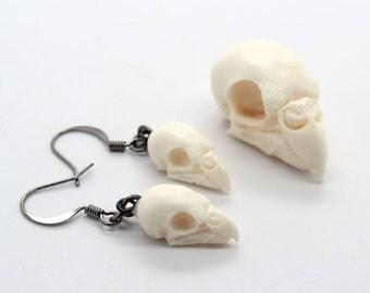 mini replica resin parakeet skull earrings - bird skull earrings
