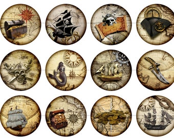 "Pirate Magnets, Pirate Map Magnets, Pirate Map Pins Badges, Party Favors, Wedding Favors, 1"" Flat, Hollow Bk, Cabochons, 12 ct"