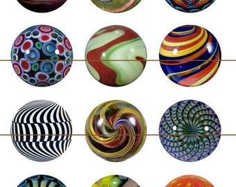 "Marbles, Marble Magnets, Vintage Marble Pins, Vintage Marble Magnets, 1"" Inch Flat Back Buttons, Pins, or Magnets 12 ct., Cabachon"