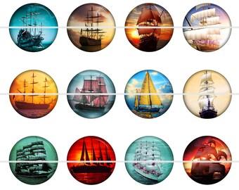 """Sailing Ship Magnets, Sailing Ship Pins, Vintage Ships, Old Sailing Ships, 1"""" Inch Flat Back Buttons, Pins, or Cabochons 12 ct."""