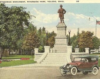 Steedman Monument Riverside Park Toledo Ohio Vintage Postcard 1925