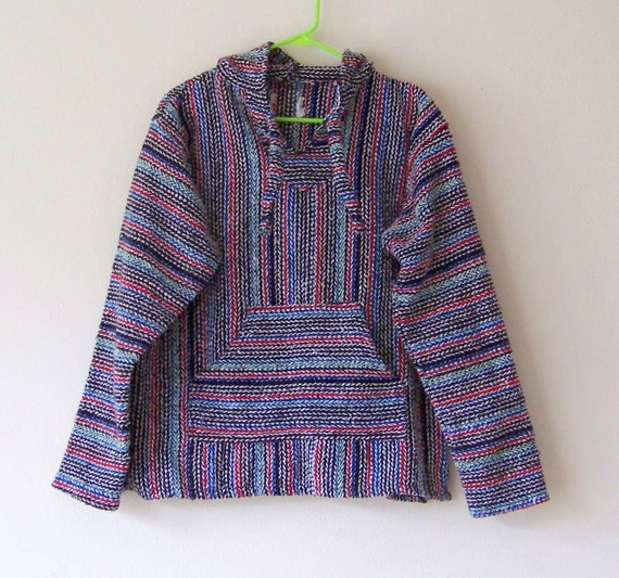 Vintage Bright And Bold Beachy Mexican Drug Rug Stoner Hippie