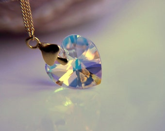 Transparent  Swarovski crystal  heart necklace: Gold plated  chain necklace