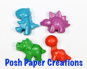 10 set of 4 Dino crayons - assorted colors - in cello bag with ribbon
