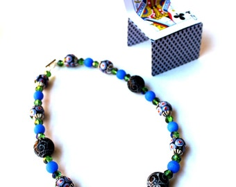Unique Blue, Green, Orange, Black and White Necklace with Mod Lampwork, Stone, Crystals, Choker, Ready to Ship, Sale - Now Marked 40% OFF