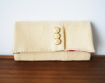 Upcycled Ecru Wool Trifold Clutch Wallet with Buttons