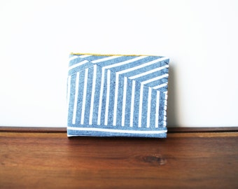 Upcycled Grey and White Striped Cloth Mens Bifold Wallet with Saffron and Navy Interior v. 2