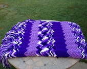 Large Crocheted Afghan Shades of Purple with Fringe Toasty and Cuddly