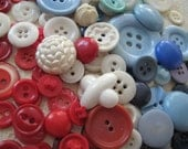 Red White Blue Vintage Button Collection Sew Craft Collect Buttons
