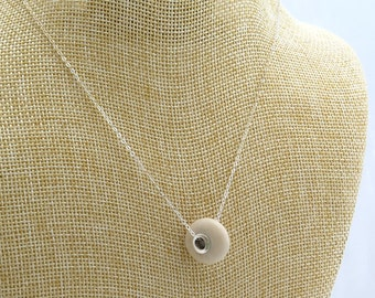 Sterling Silver Riveted Creme White Beach Stone, Rare Jewelry Necklace, Handmade Bead-Pebble Pendant