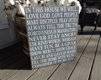 In This House We Will -Subway Style Wood Sign, Personalized,Family Rules, Love, Wedding, Children