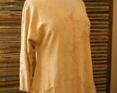 Raglan Tunic Buckskin Ecru Hand Dyed Hemp & Organic Cotton Women's Size SM
