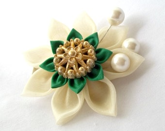 Cream Kanzashi Hair Flower with Green Fabric Origami Unique Gift