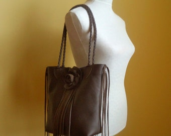 brown leather handbag, tote with flower rose and fringe by Tuscada. Made to order