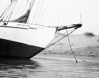 "Black And White Nautical Art, Sailboat, Black And White Photography, Beach Decor, Bathroom Decor, ""To Sail The Sea"""