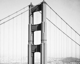 "Black And White San Francisco Photography, Golden Gate Bridge, Urban Decor, Gray White, Architecture Bridge Photograph, ""Golden Great"""