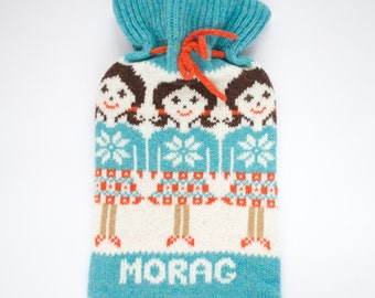 Personalised Knitted Highland Girl Fair isle Hot Water Bottle Cover/Cosy