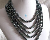 Pearl Necklace -100 inches 5-7mm Peacock Green Freshwater Pearl Necklace- Free shipping
