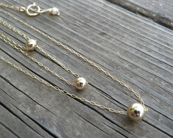 On Sale Layer Necklace Triple Tier Layered Gold Necklace, Three Tiny Gold Ball Necklaces, Layer Jewelry, Elegant Minimalist Bridal Necklace