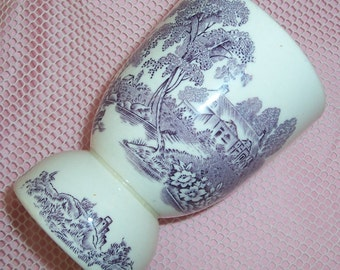 ANTIQUE, English Mulberry TRANSFERWARE Double Egg Cup